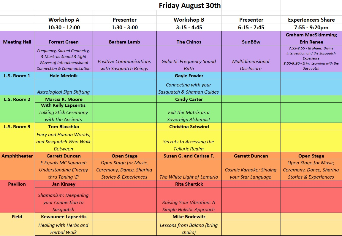 Friday Aug 30 Workshops
