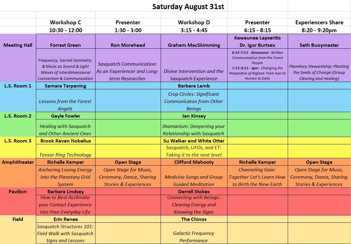 Sat Aug 31 Workshops