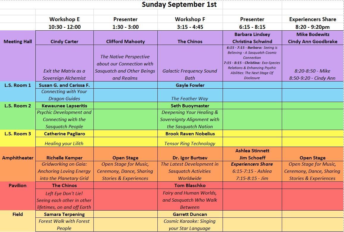Sun Sept 1 Workshops