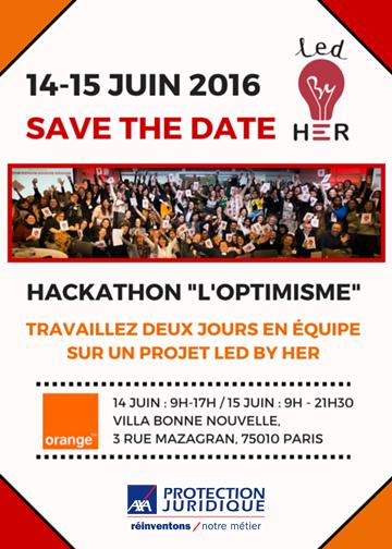 Hackathon Led By HER en partenariat avec Orange et AXA Protection Juridique, les 14 et 15 juin 2016 de 9h à 17h (cocktail jusqu'à 21h30 le 15 juin).