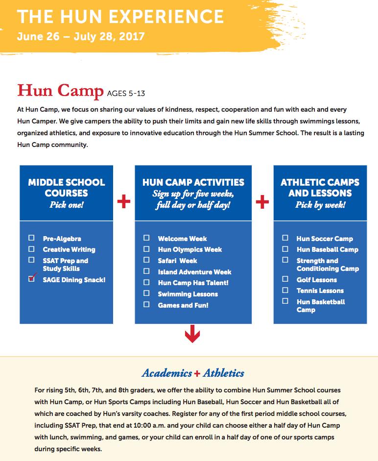 The Hun Summer Programs: Hun Camp + Hun Summer School