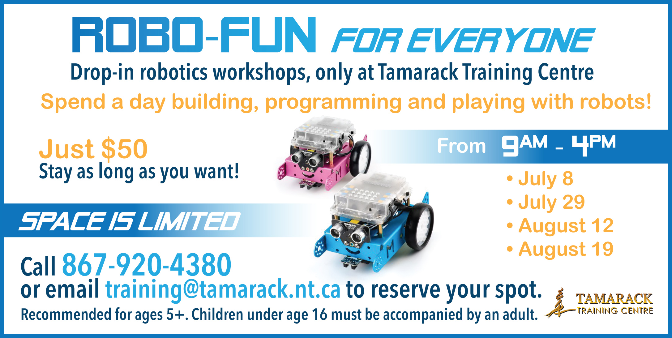 Tamarack Robotics Summer Drop-Ins