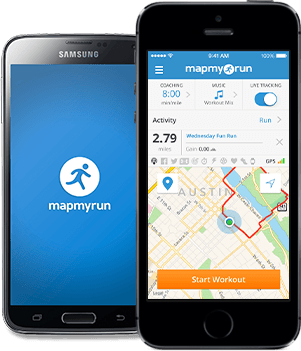 Map My Run App running on a smartphone