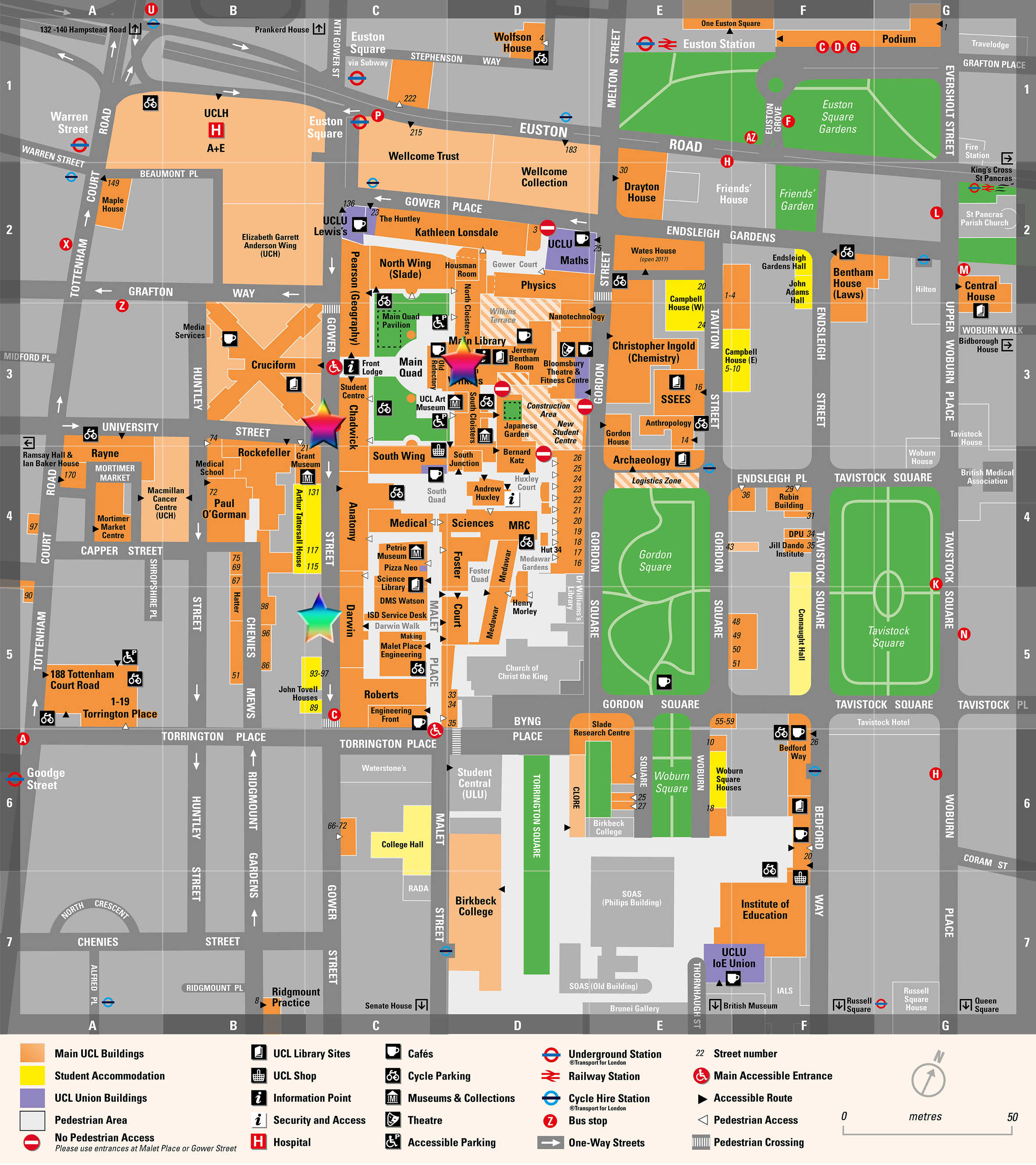 A map of UCL Bloomsbury campus. The stars indicate the locations; the main building and Chadwick building will be the primary location, however if the weather is not suitable for outdoor poster presentations, the event will take place in the basement of the Darwin building.