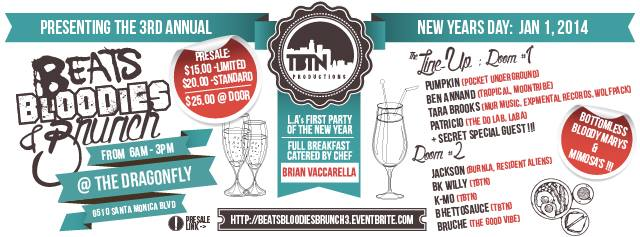 FLIER FOR BEATS, BLOODIES, AND BRUNCH