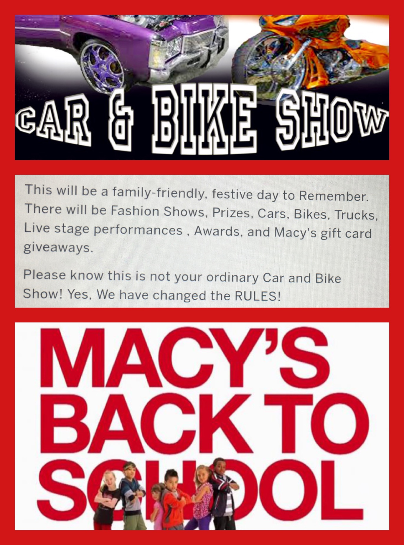 Macy's & Tact Entertainment Presents The 2017 Back To School Car And Bike  Fashion Expo