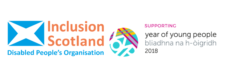 Year of Young People logo and Inclusion Scotland logo