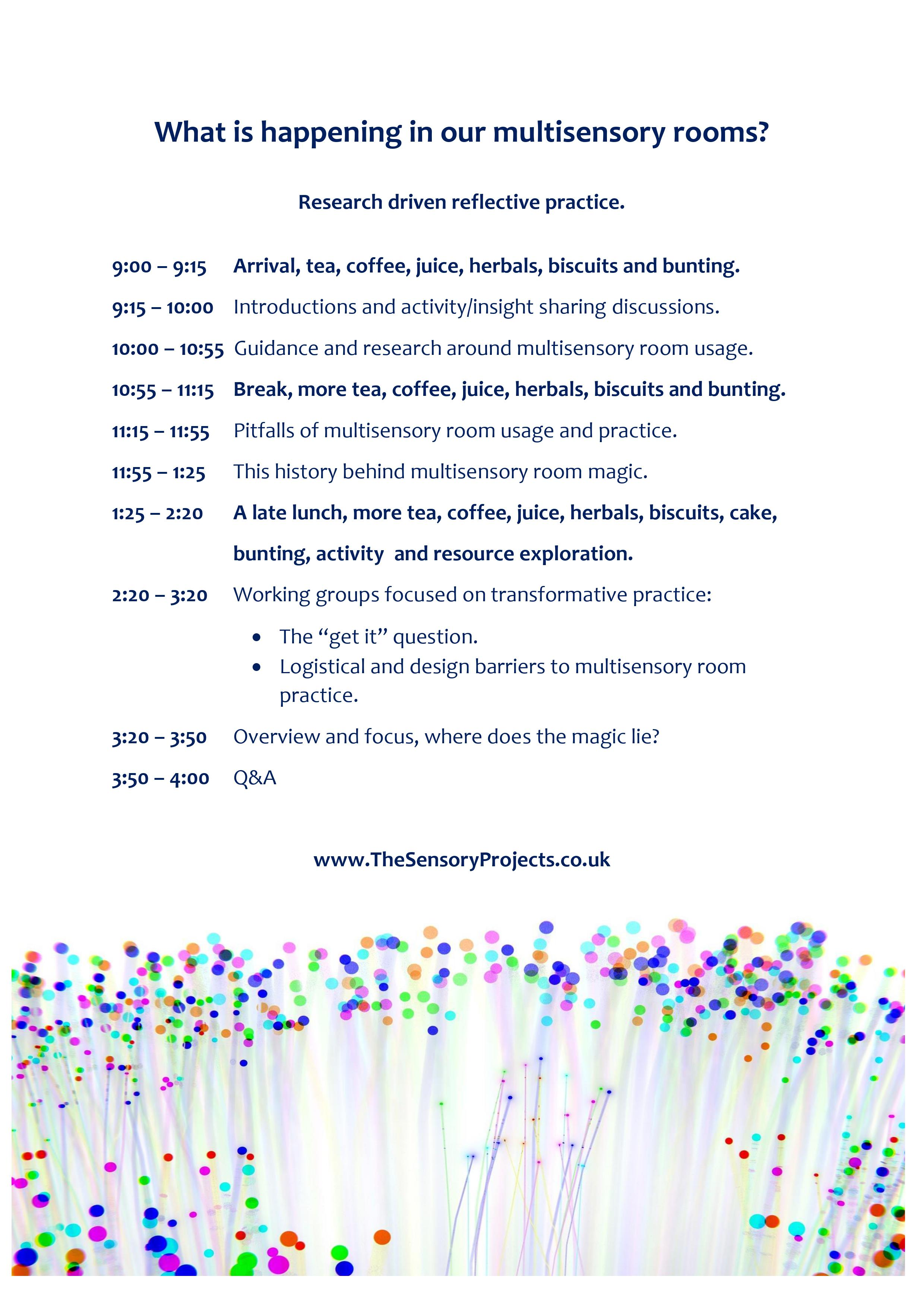 agenda for the day - email sensorystory@gmail.com for a version in WORD