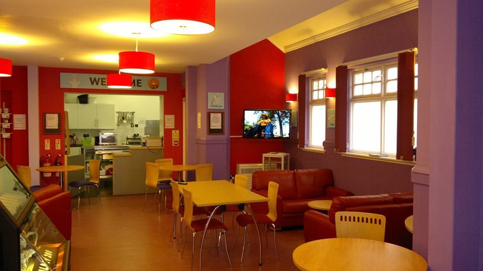 The warm interior of cafe 55