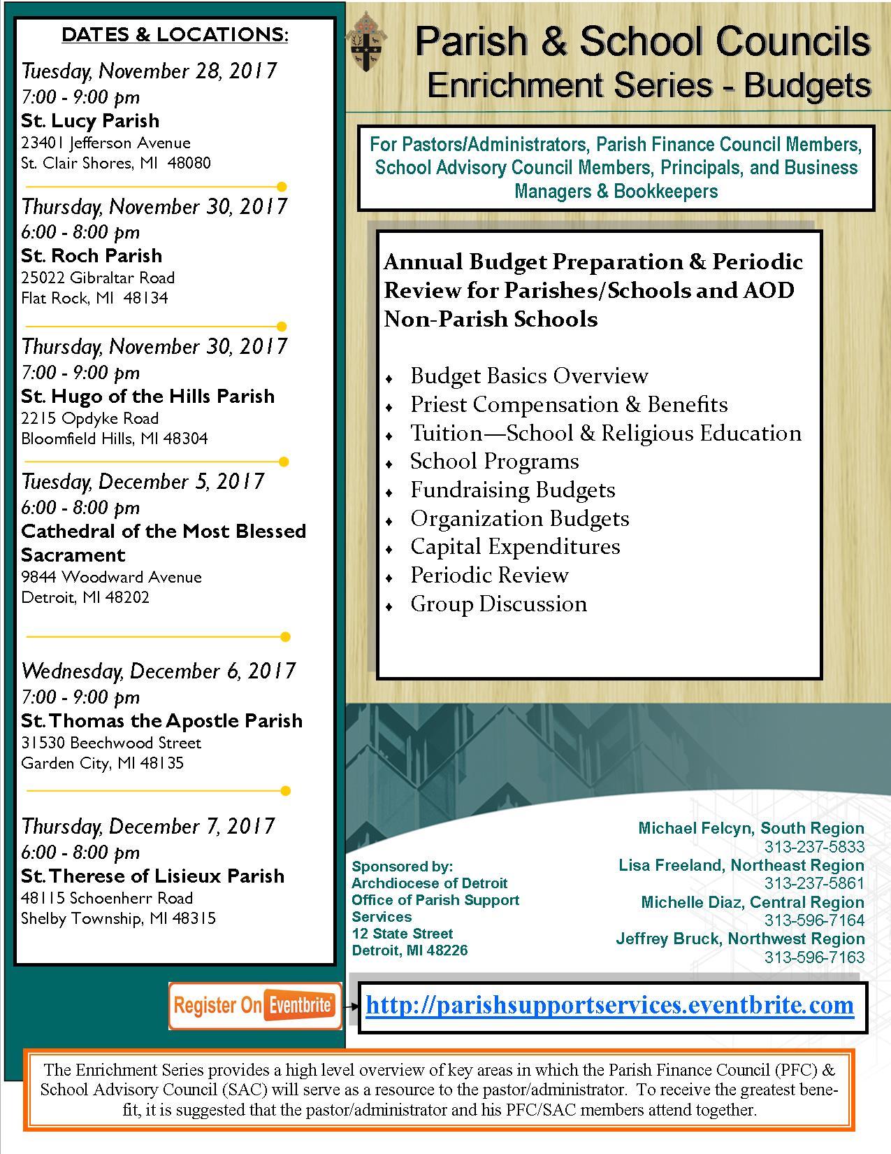 PFC Enrichment - Budgets, Flyer, Fall, 2017