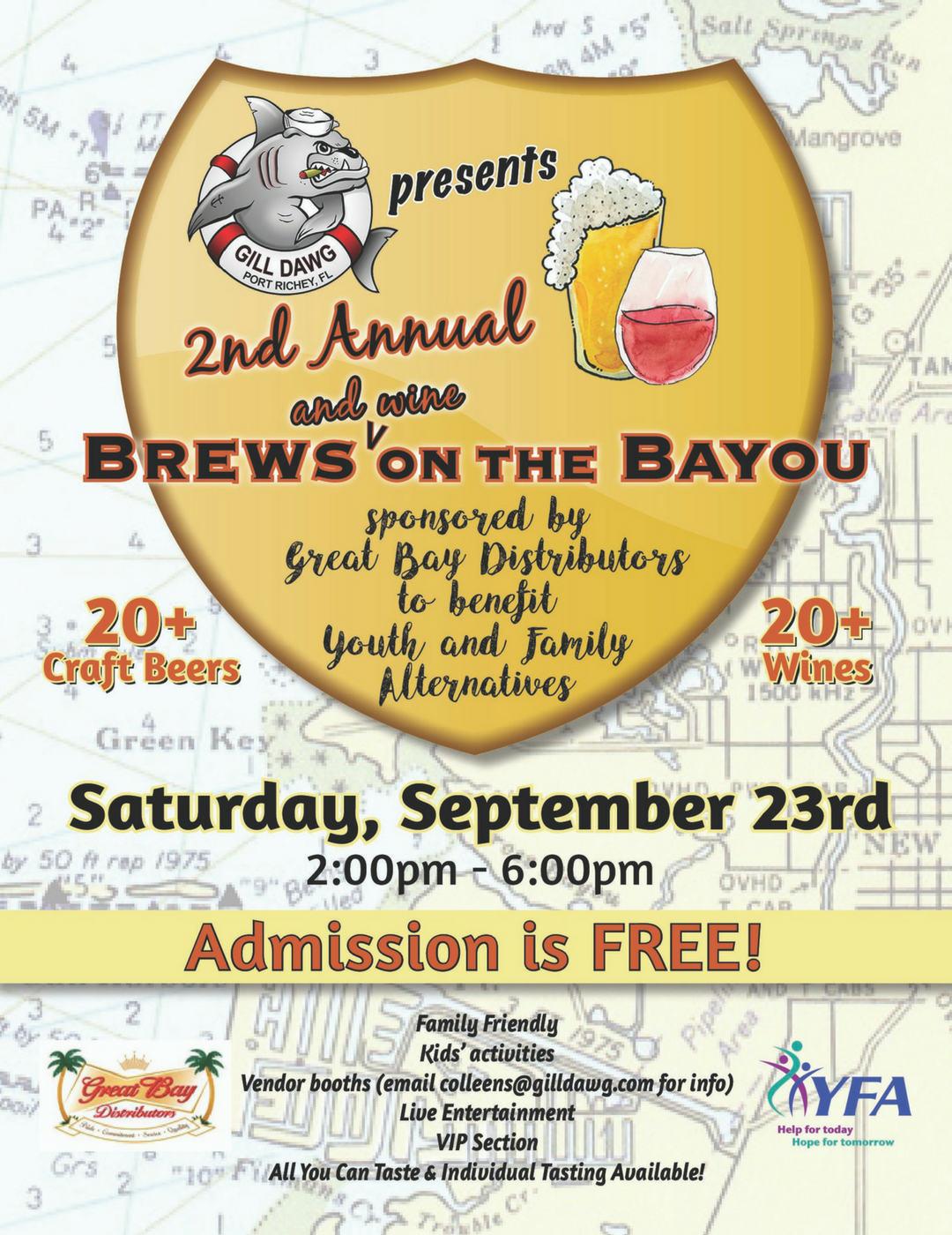 2nd annual brews & wine on bayou flyer
