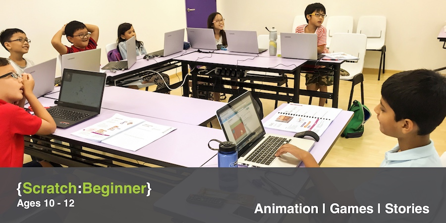 Class picture of students attending Scratch Beginner I class