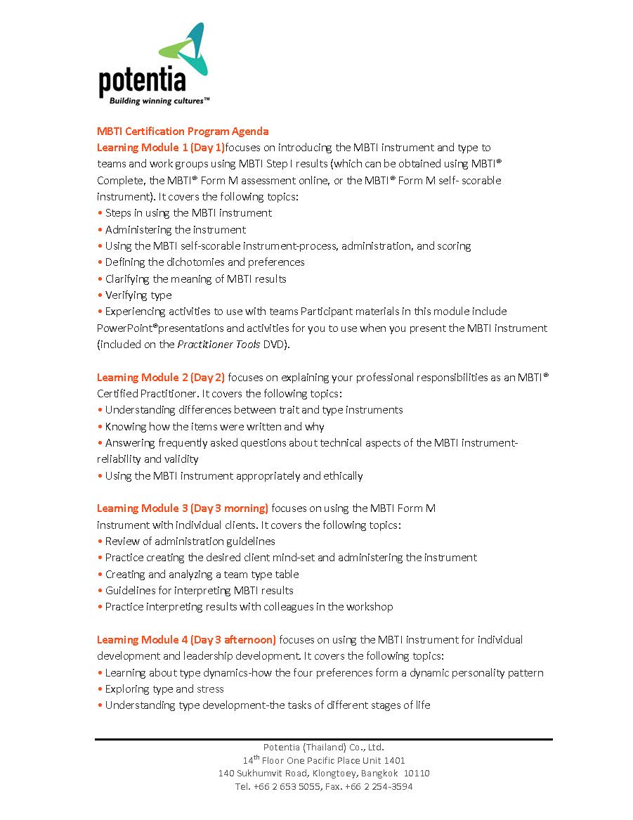 MBTI certification program agenda