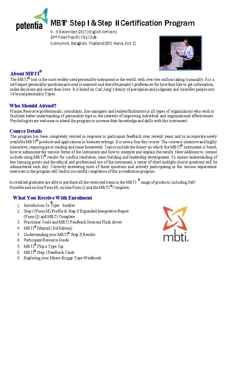MBTI certification program registration