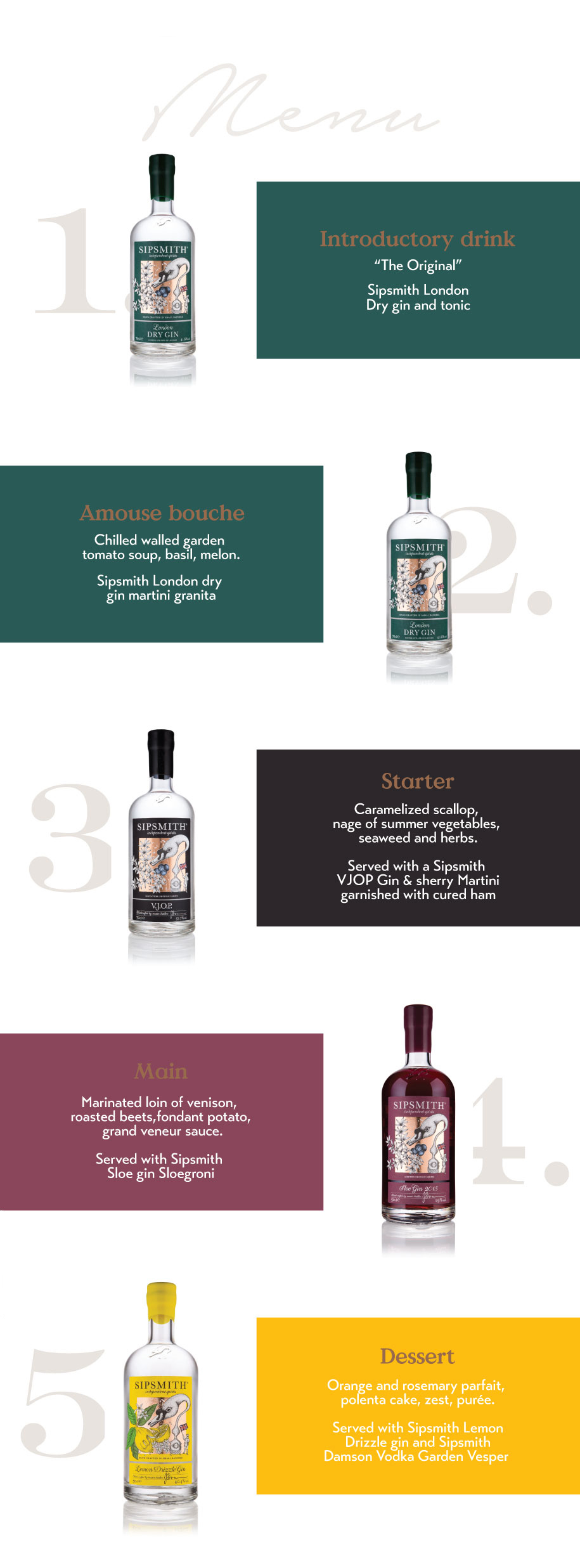 An evening with Sipsmith - gin and food pairing menu