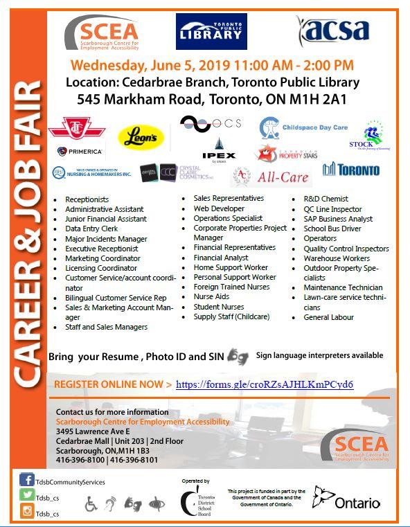 Spring Job Fair at Cedarbrae Library