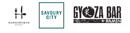 Logos for Hawksworth, Savoury City Catering and Gyoza Bar