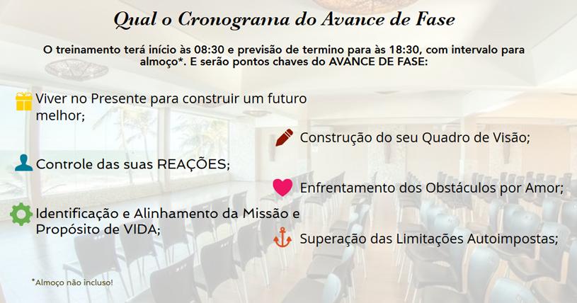 CRONOGRAMA DO TREINAMENTO AVANCE DE FASE