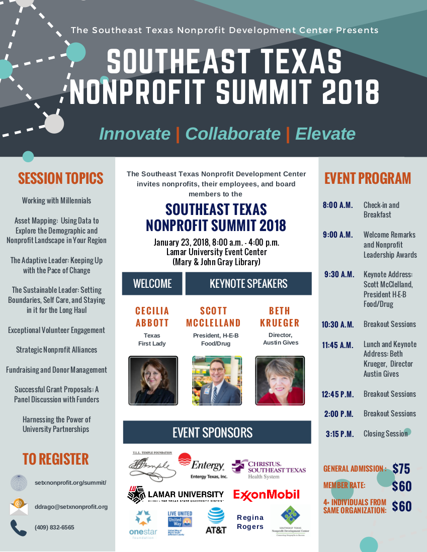Southeast Texas Nonprofit Summit Flier and Agenda