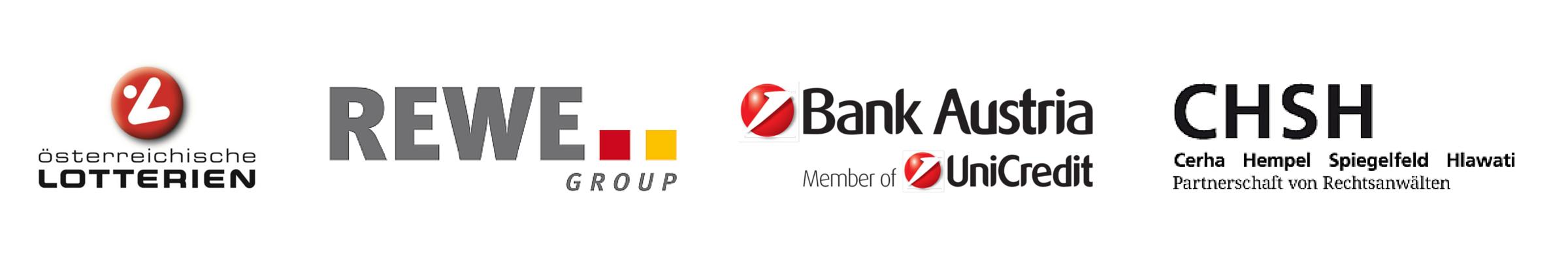 Logos der Partner, Lotterien, BankAustria, Rewe, CHSH