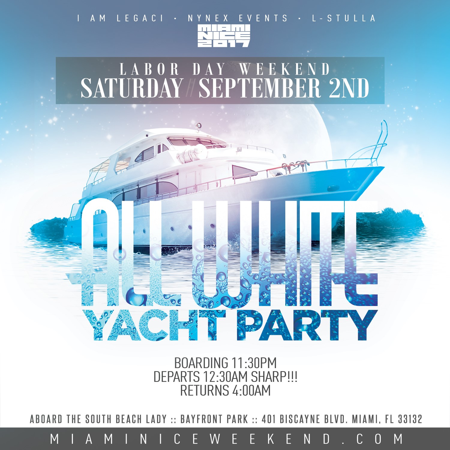 miami nice 2017 annual labor day weekend all white yacht party tickets sat sep 2 2017 at 11. Black Bedroom Furniture Sets. Home Design Ideas