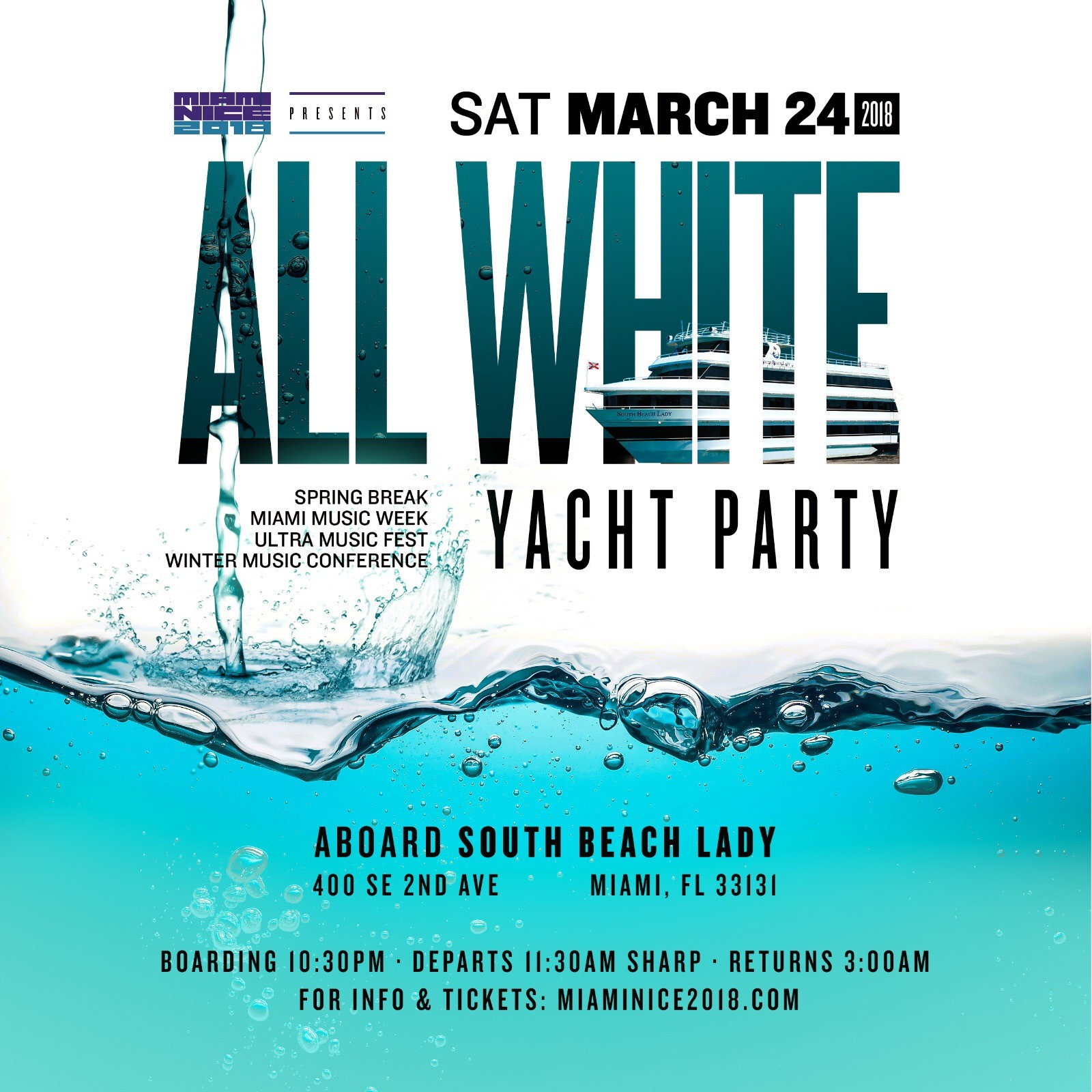 Spring Musical 2018: MIAMI NICE 2018 ALL WHITE YACHT PARTY