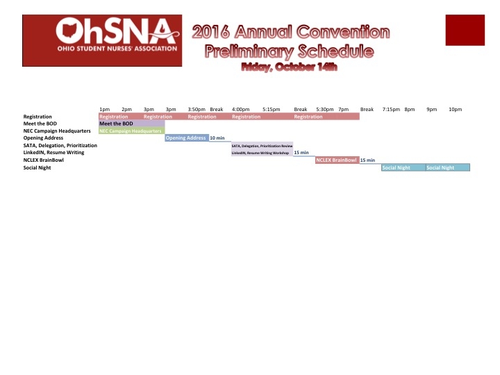 Friday, October 14th, Preliminary Schedule