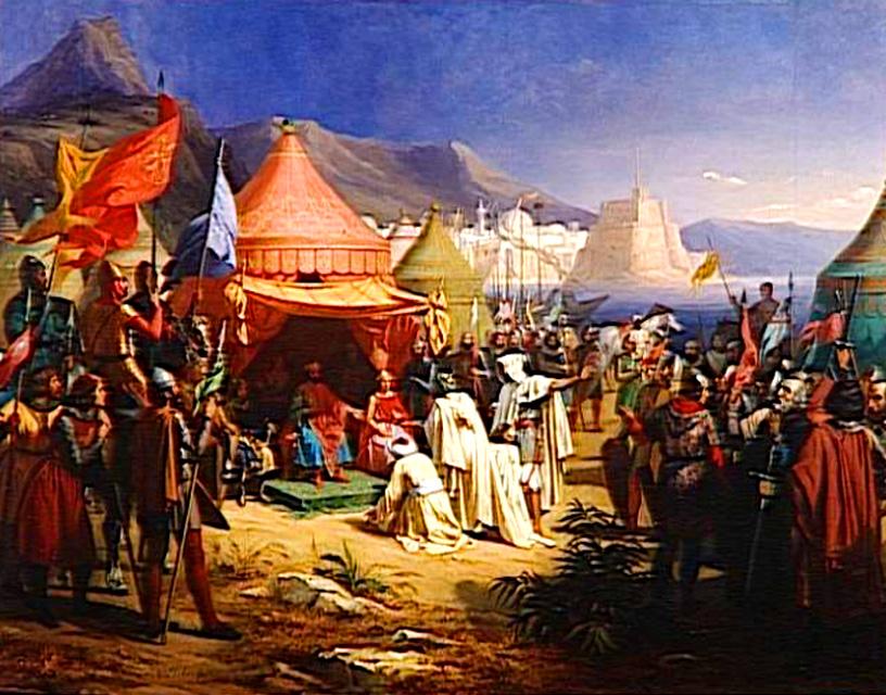 Bertrand de Saint-Gilles recevant la soumission du cadi Fakhr al-Mulk ibn-Ammar après la prise de la ville de Tripoli, tableau commandé par Louis-Philippe pour le musée historique de Versailles en 1838, exécuté en 1842 par Alexandre-Charles Debacq