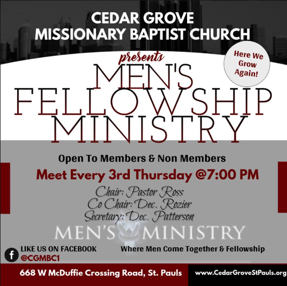 Cedar Grove MBC Mens Fellowship Flyer