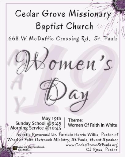 Cedar Grove MBC Womens Day