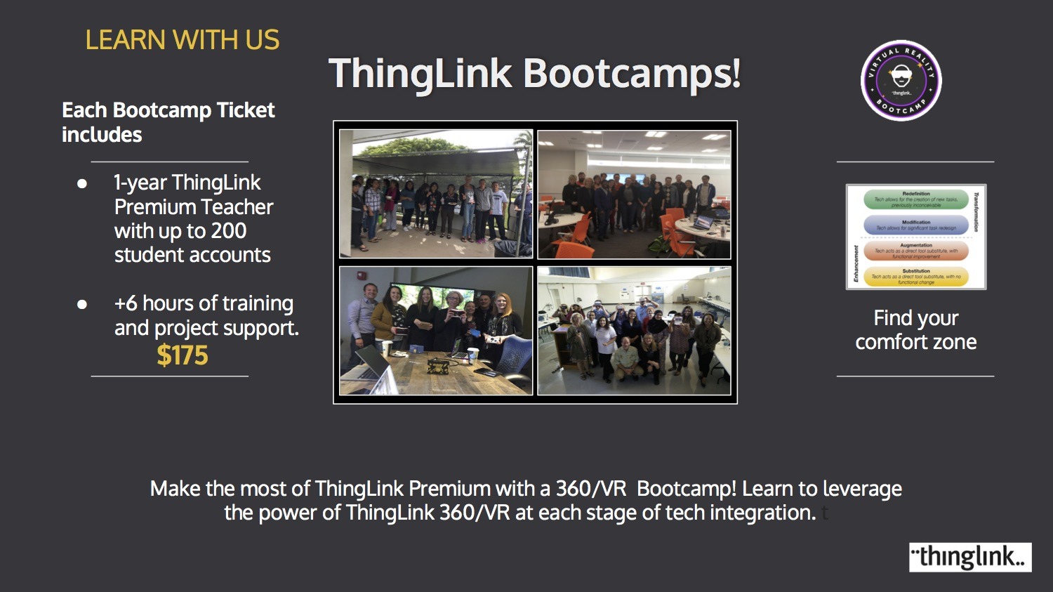 Bring a Bootcamp to Your Backyard.  Contact Susan by email susan@thinglink.com