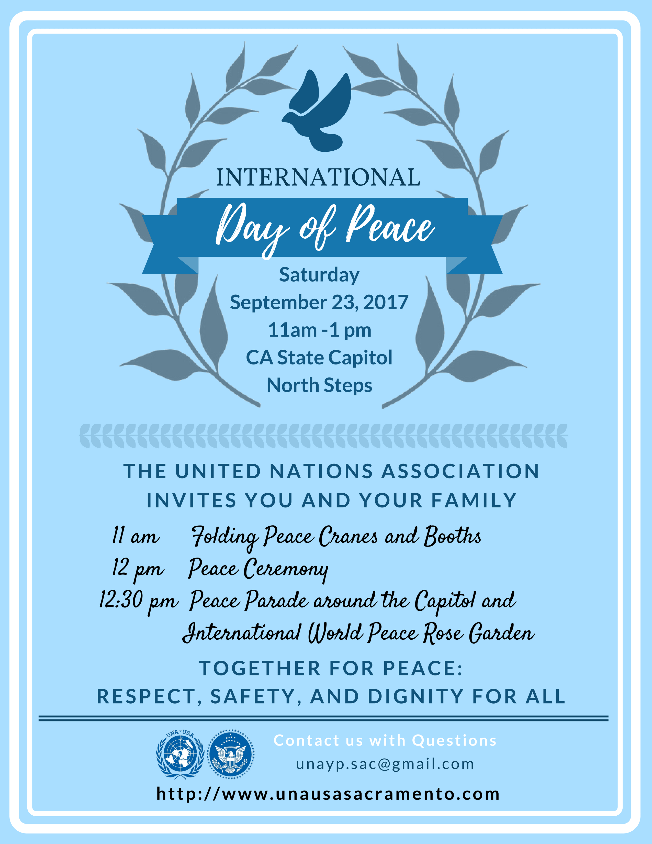 International Day of Peace Flyer. September 23 11am - 1pm California State Capitol, North Steps