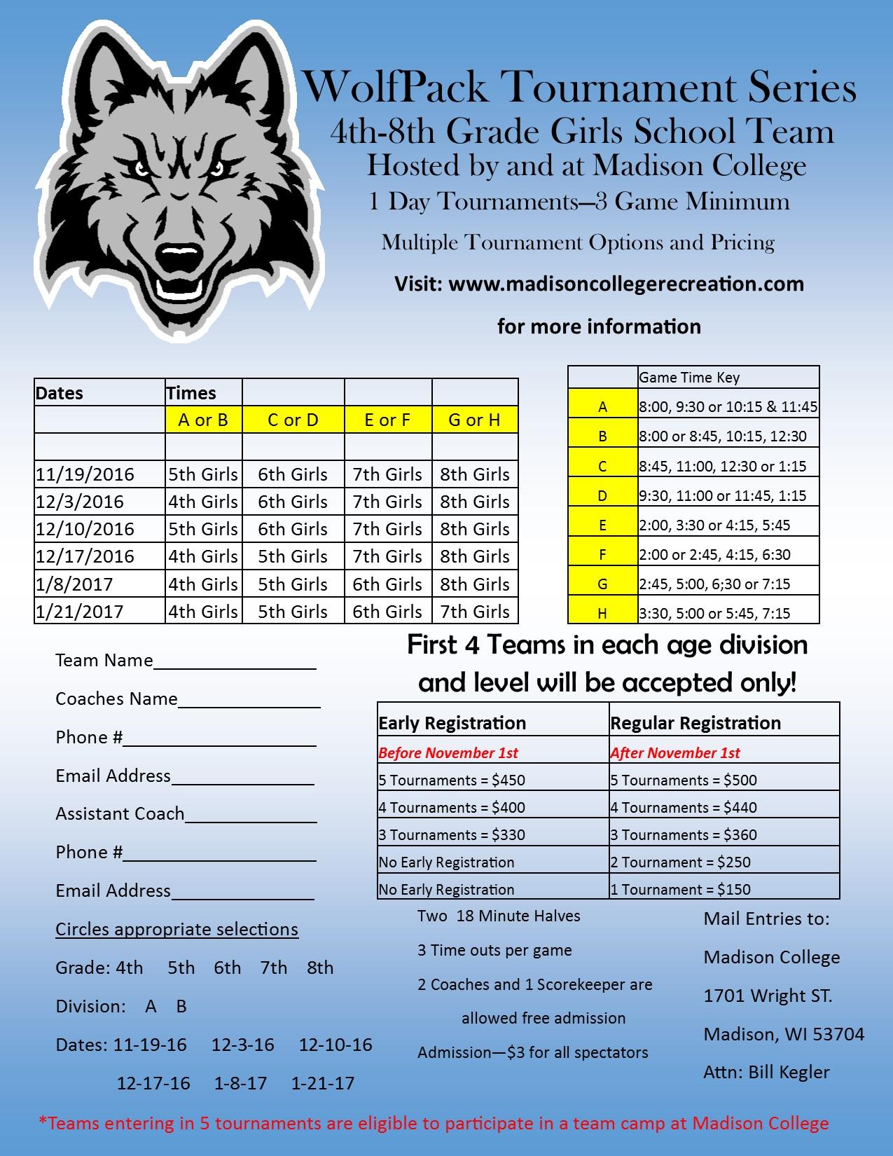 Girls Wolfpack Tournament Series