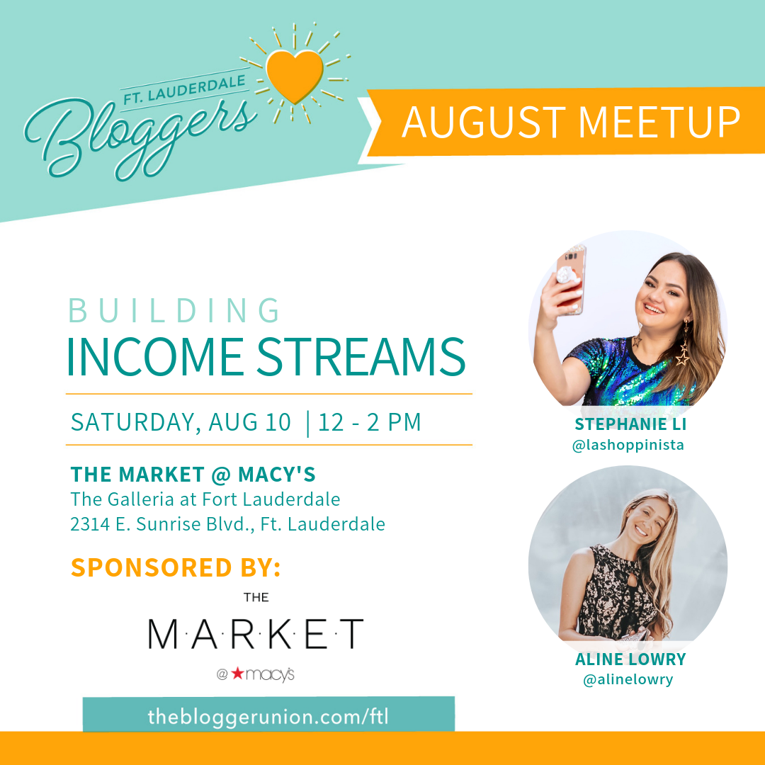 Ft Lauderdale Bloggers Aug 2019 Meetup on Building Income Streams