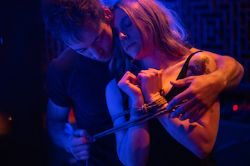 Ash Snare shares an intimate connection with model afFlux in midst of shibari tie