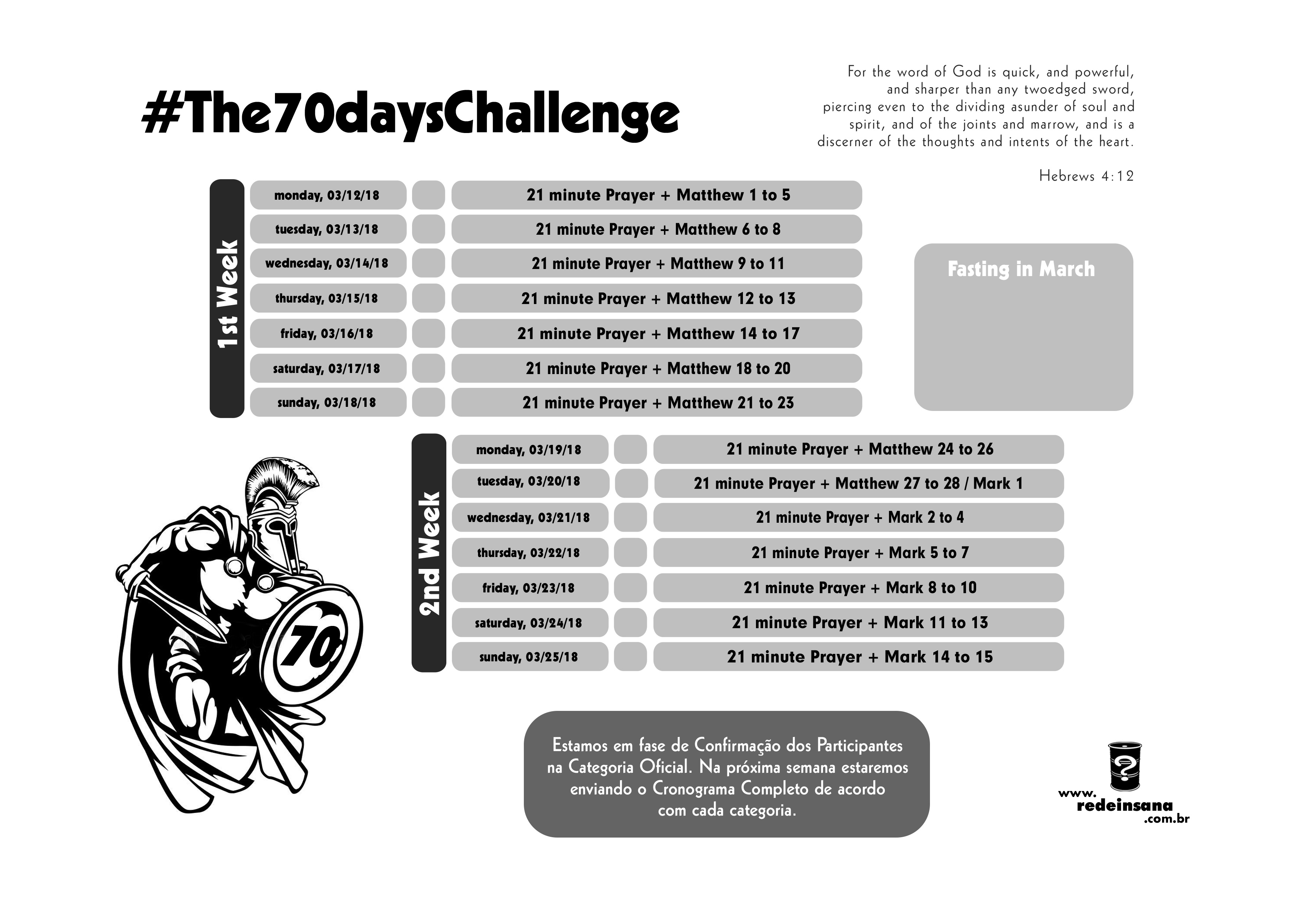 Cronograma The 70 days Challenge