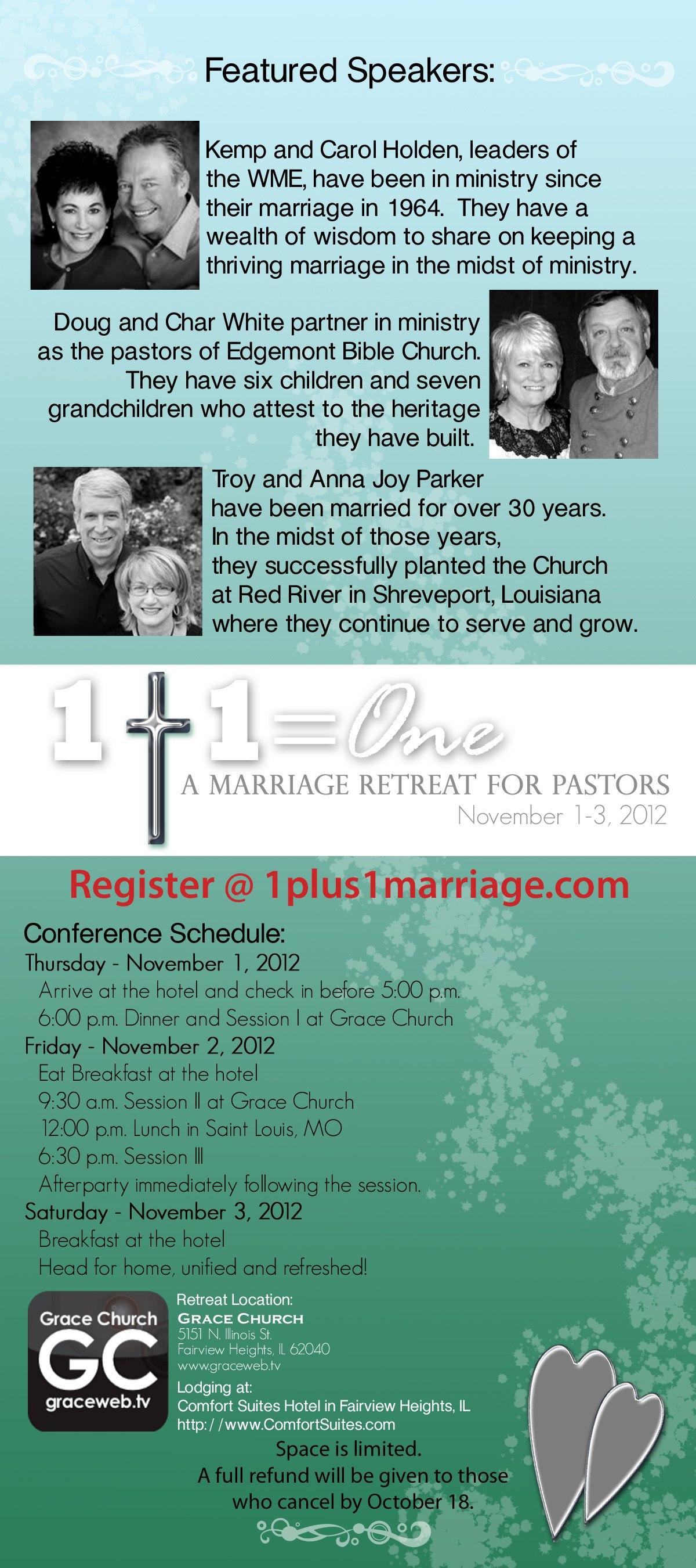 1 Plus 1 Marriage Retreat For Pastors Tickets Fairview