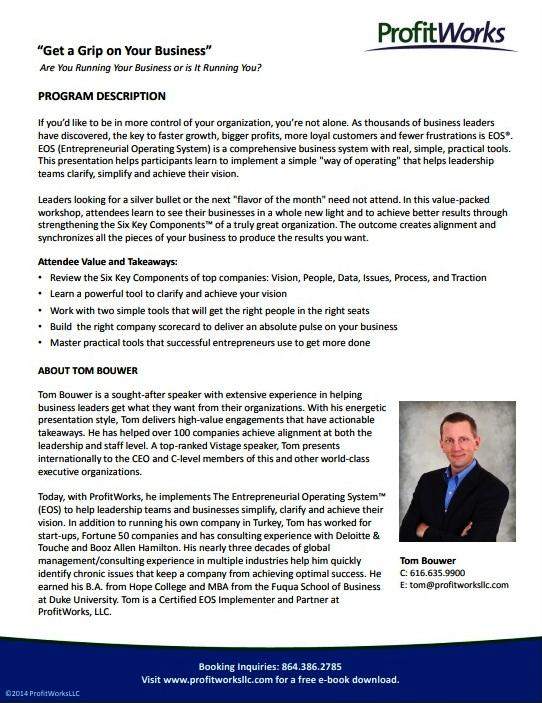 Tom Bouwer program overview