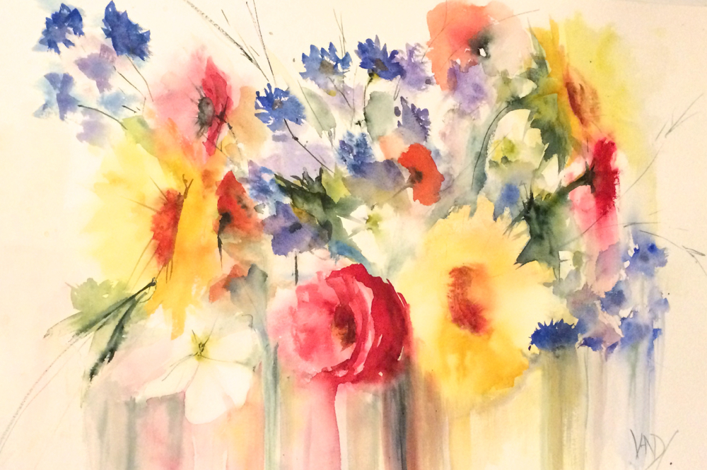 Flowers from a French Field - a watercolour by Vandy Massey