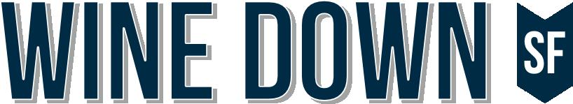 wine down logo in navy blue
