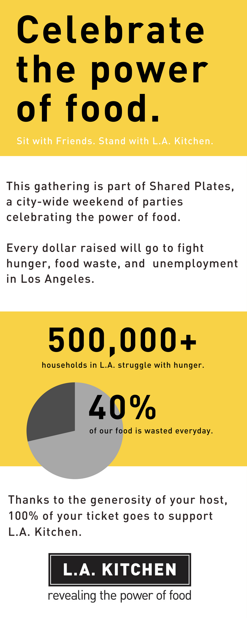 This gathering is part of Shared Plates, a city-wide weekend of parties celebrating the power of food.  Every dollar raised will go to fight hunger, food waste, and  unemployment in Los Angeles. Thanks to the generosity of your host, 100% of your ticket goes to support L.A. Kitchen.