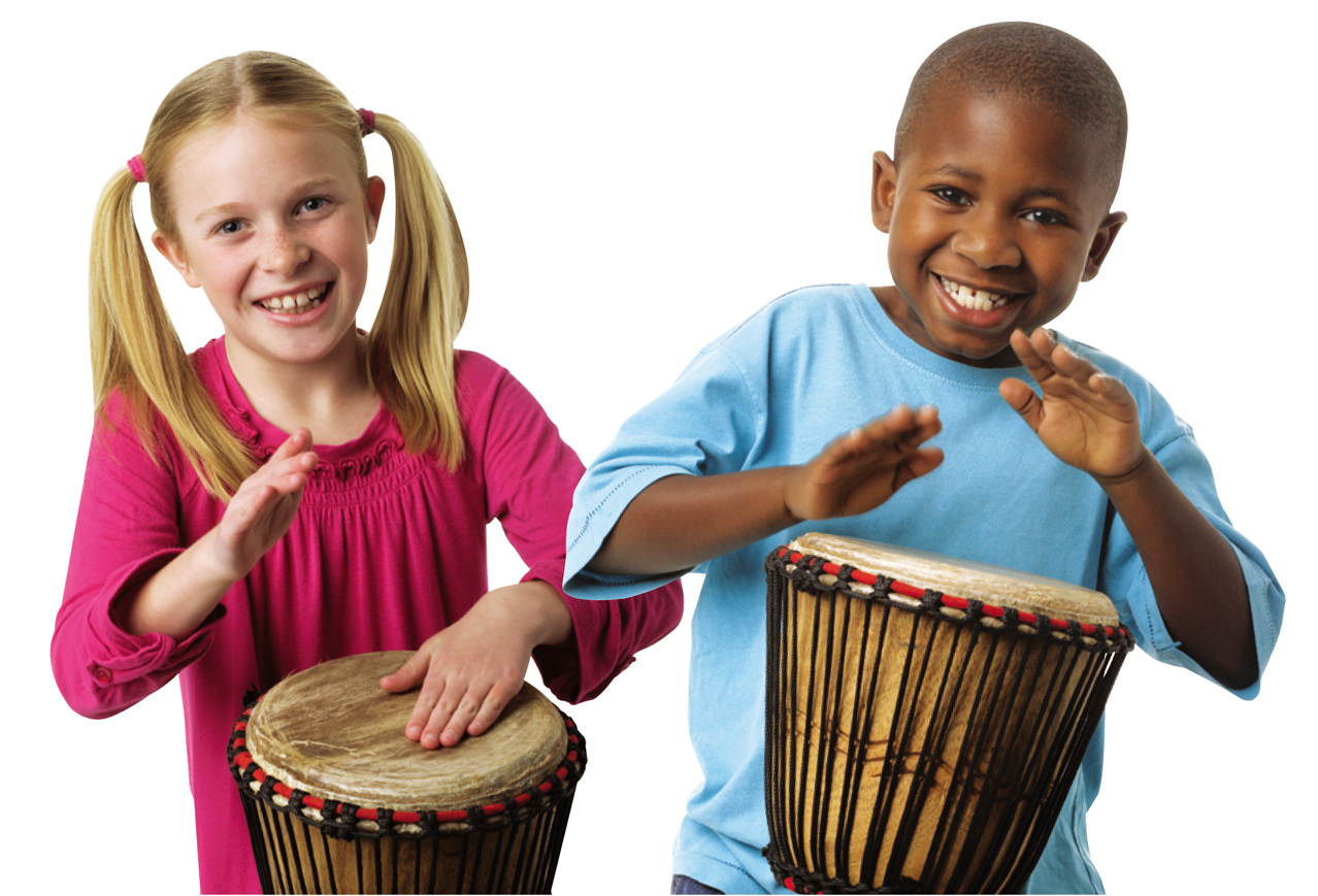 kids playing djembes