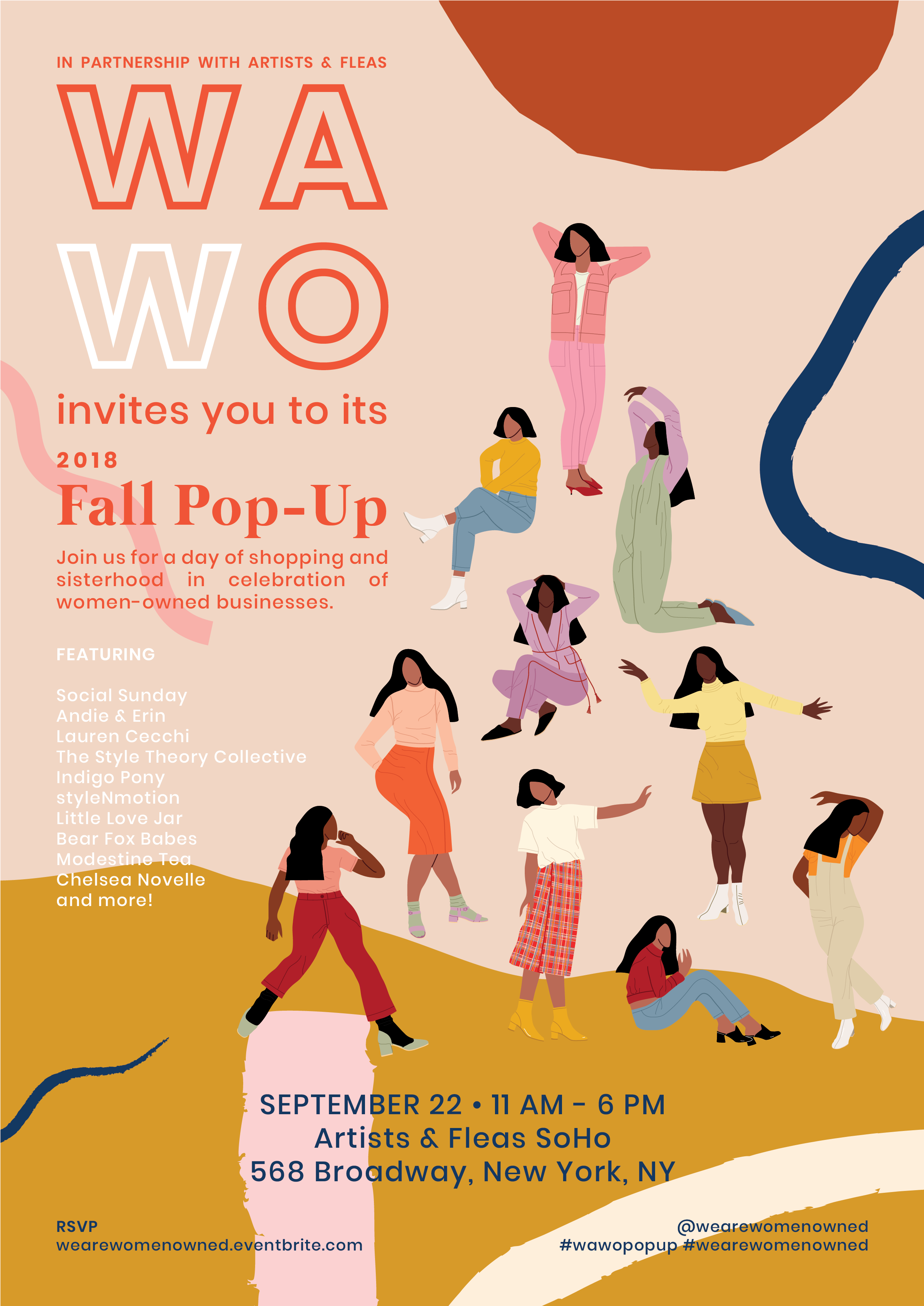 We Are Women Owned Fall 2018 Flyer designed by Michelle Pasia featuring illustrations of women wearing fall fashion