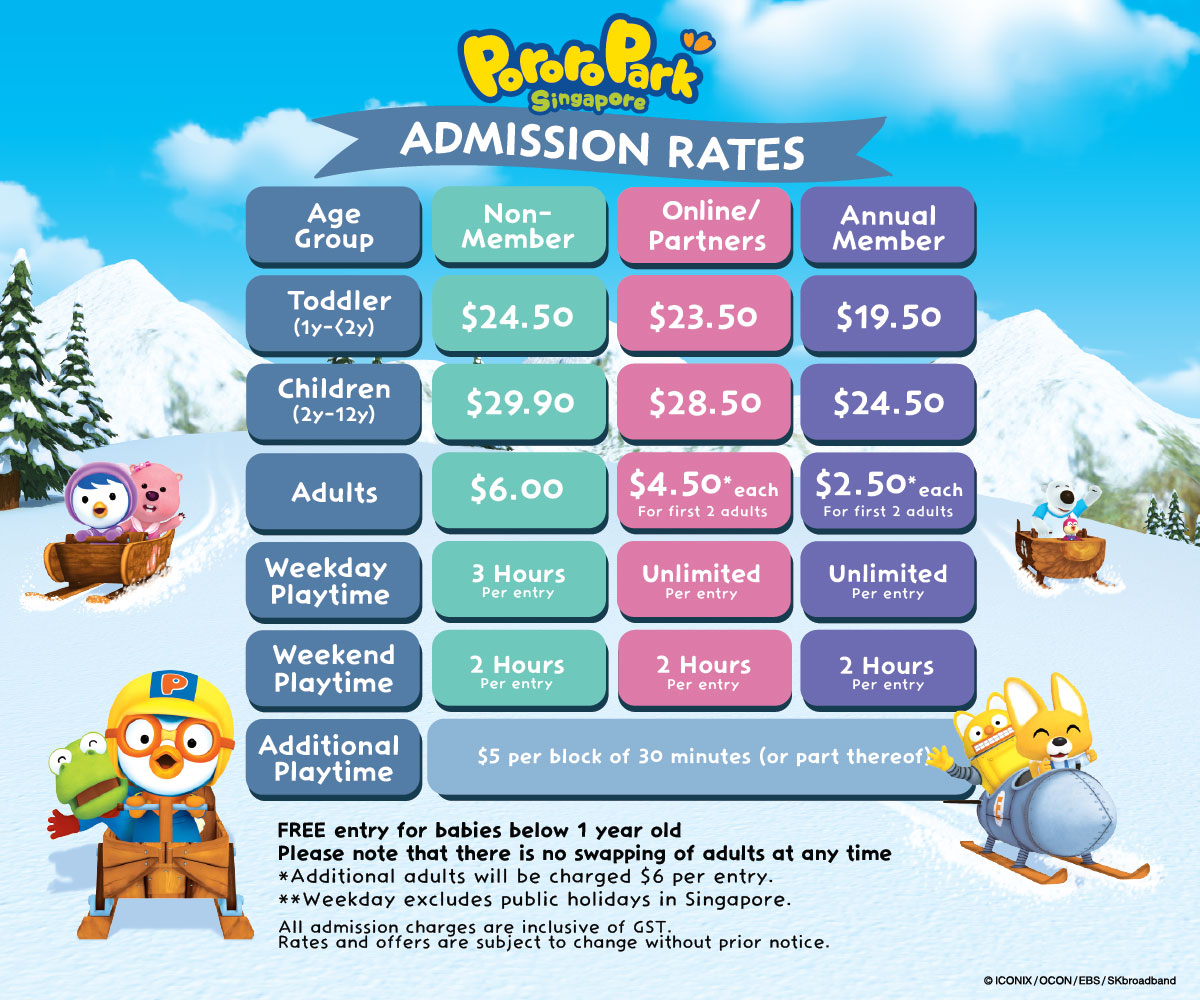 Pororo Park Singapore Admission Prices