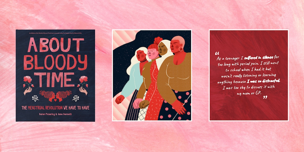 About Bloody Time book cover; illustration of women + GNC people marching; illustrated quote from the book.