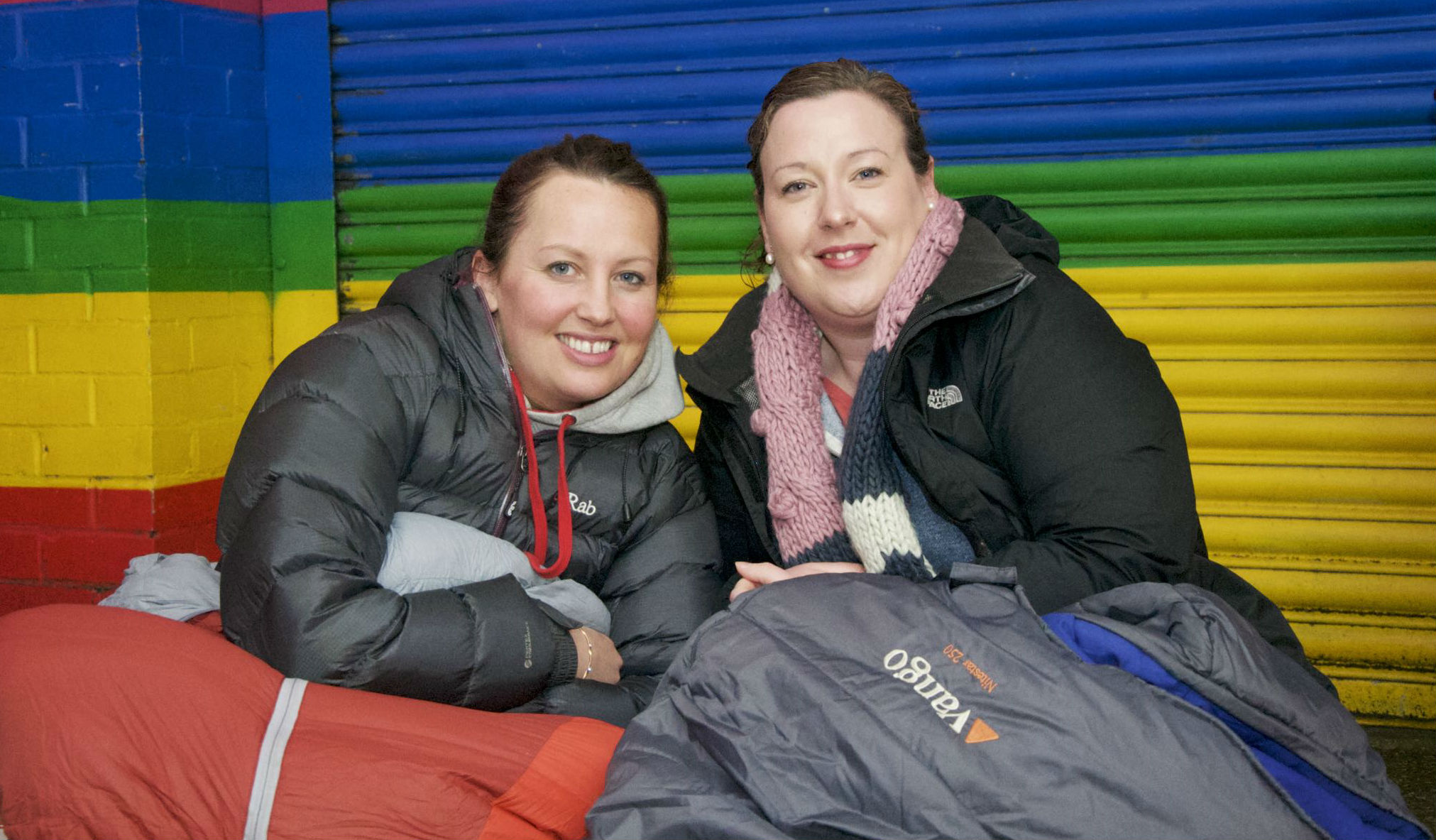 2 supporters in their sleeping bags at Roundabout Sleep Out 2016