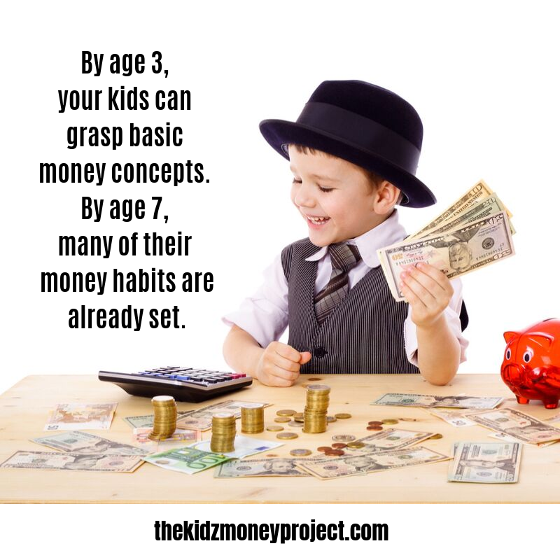 young boy in hat at a desk counting money