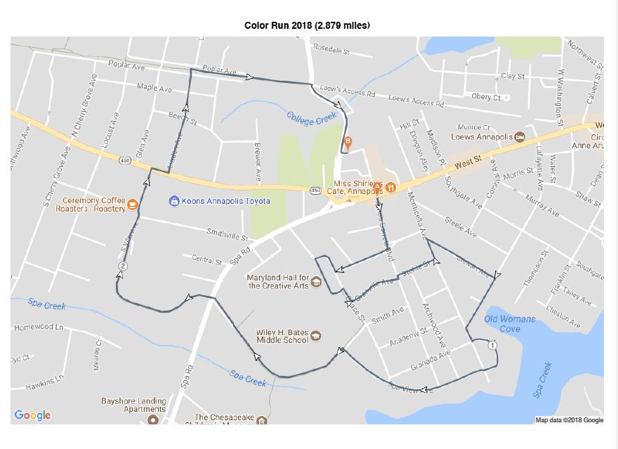 2018 Color Run Course