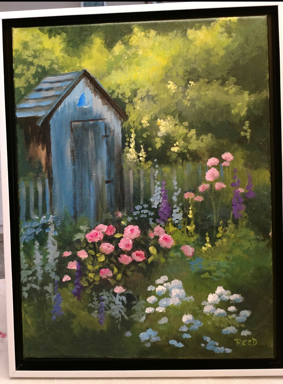 Sip & Paint- shed surrounded by flowers