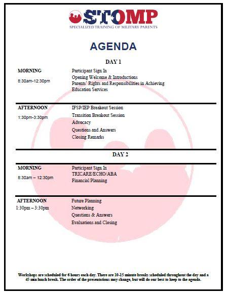 Agenda Hurlburt AFB STOMP workshop
